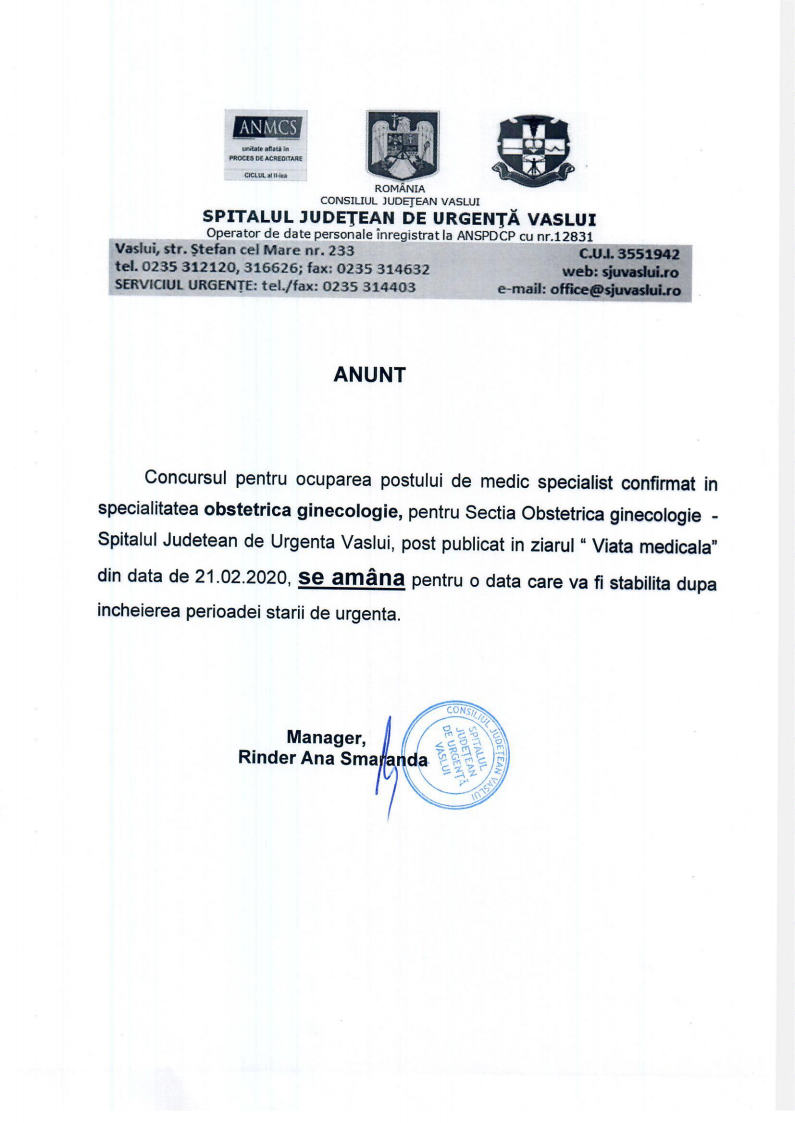 ANUNT- AMANARE CONCURS MEDIC SPECIALIST Sectia OBSTETRICA GINECOLOGIEjpg Page1